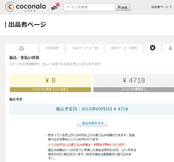ココナラ売り上げ画面2015